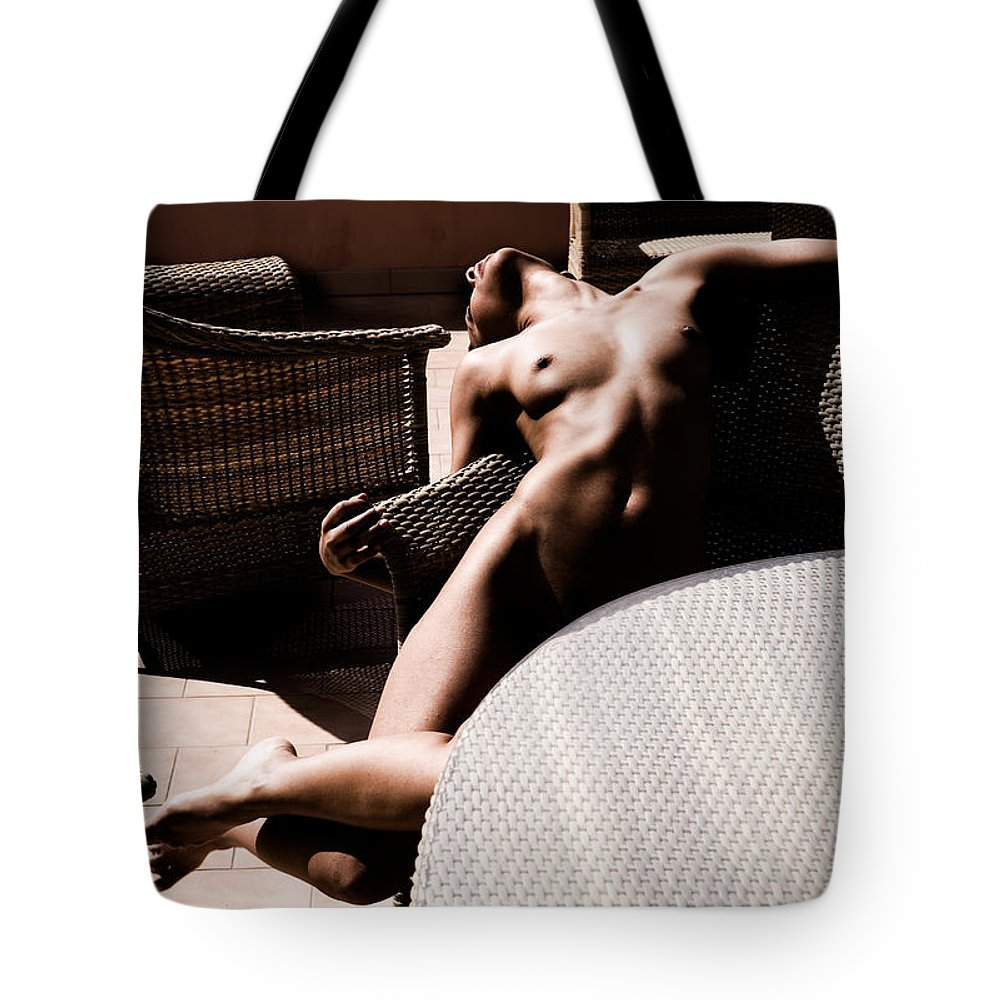 Sensual Tote Bag featuring the photograph The Terrace by Olivier De Rycke