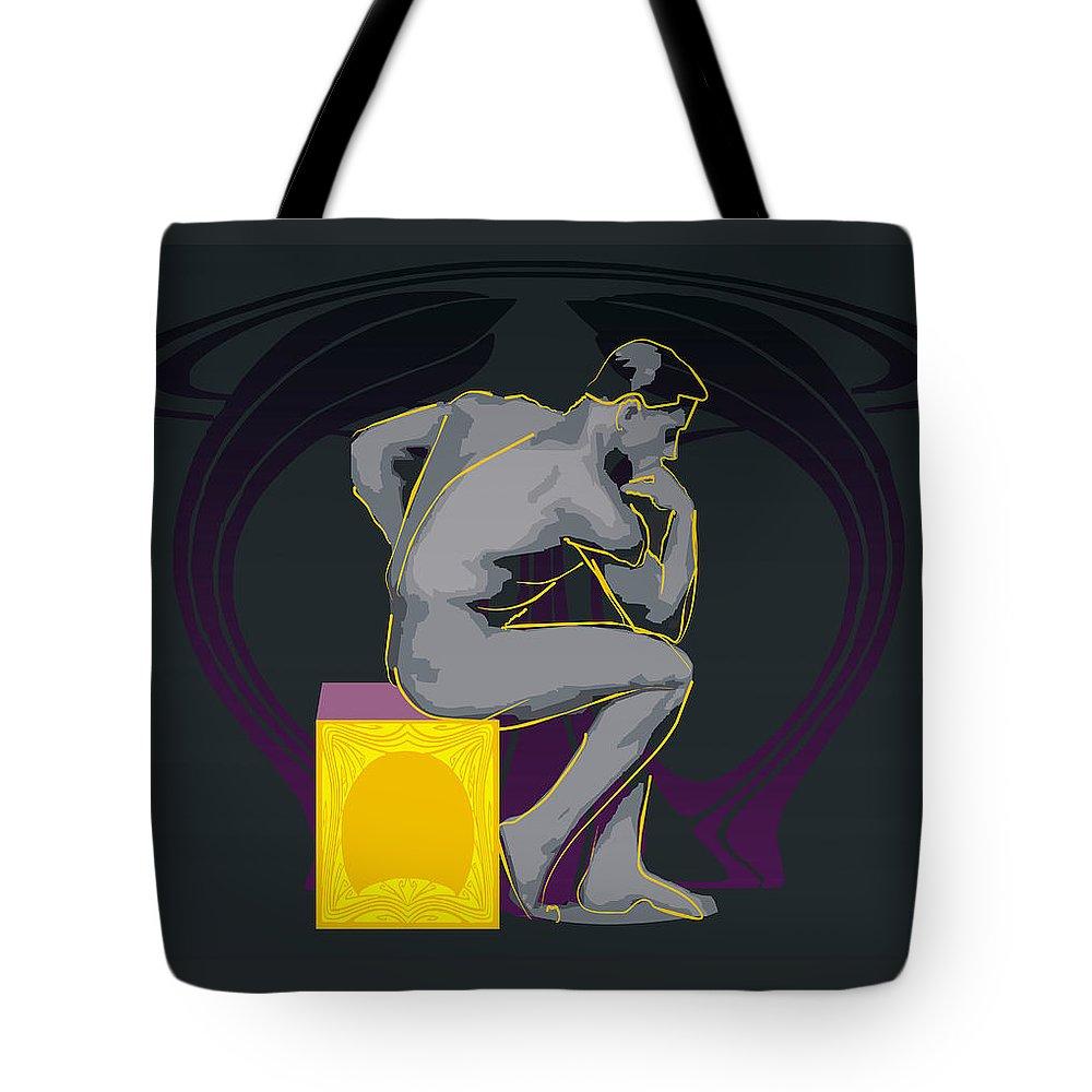 Men Naked Tote Bag featuring the digital art The Thinker - El Pensador by Quim Abella