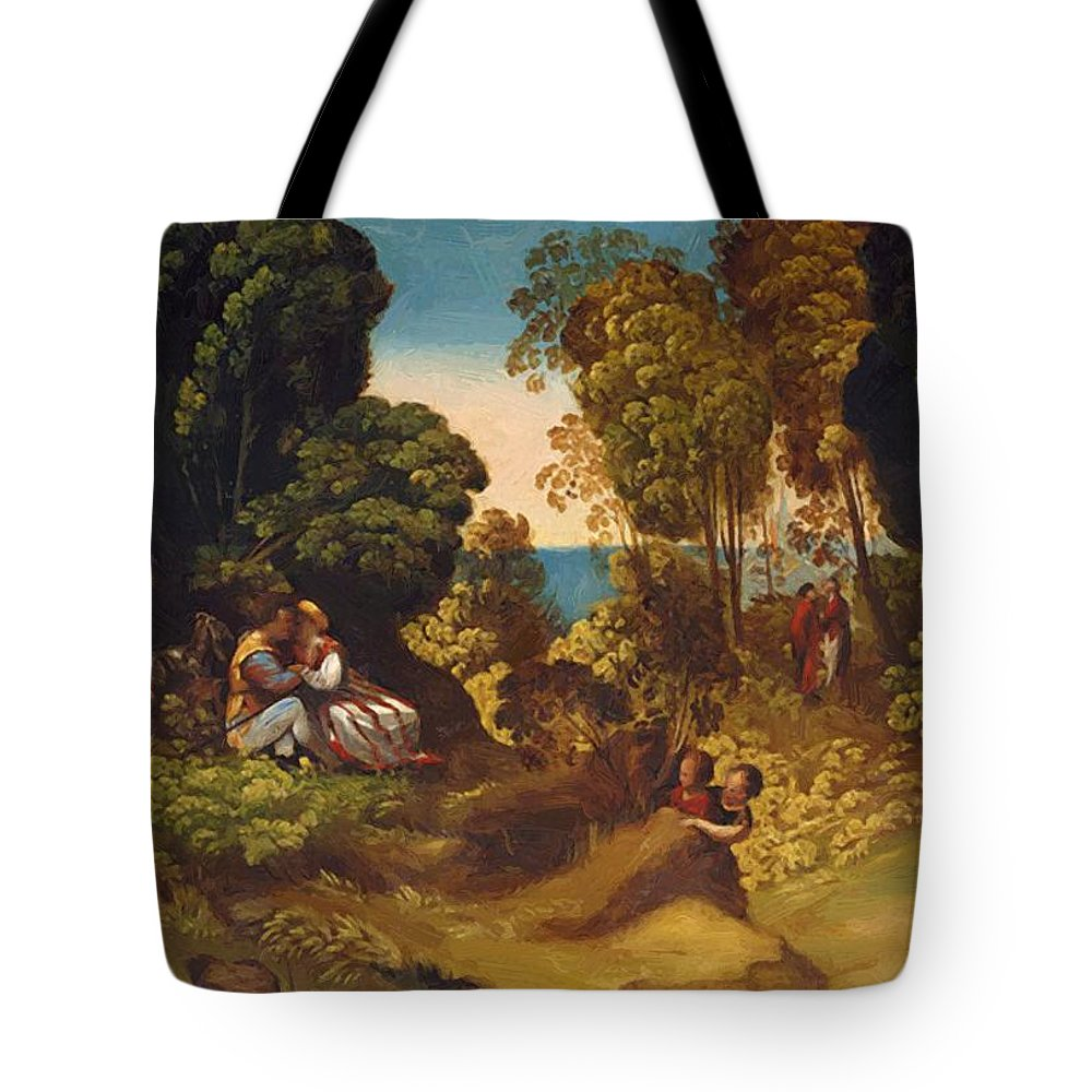 The Tote Bag featuring the painting The Three Ages Of Man 1515 by Dossi Dosso