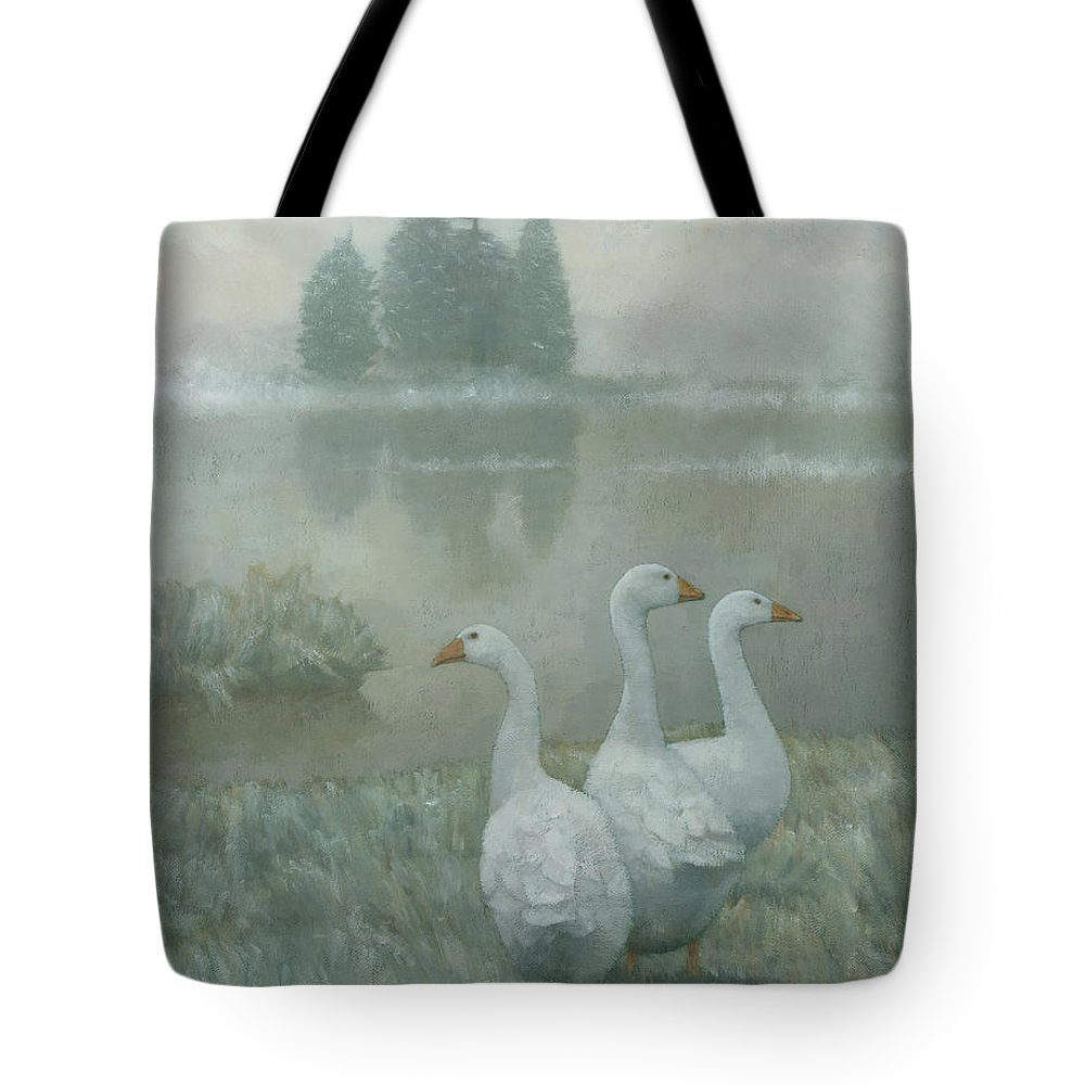 Country Tote Bag featuring the painting The Three Geese by Steve Mitchell