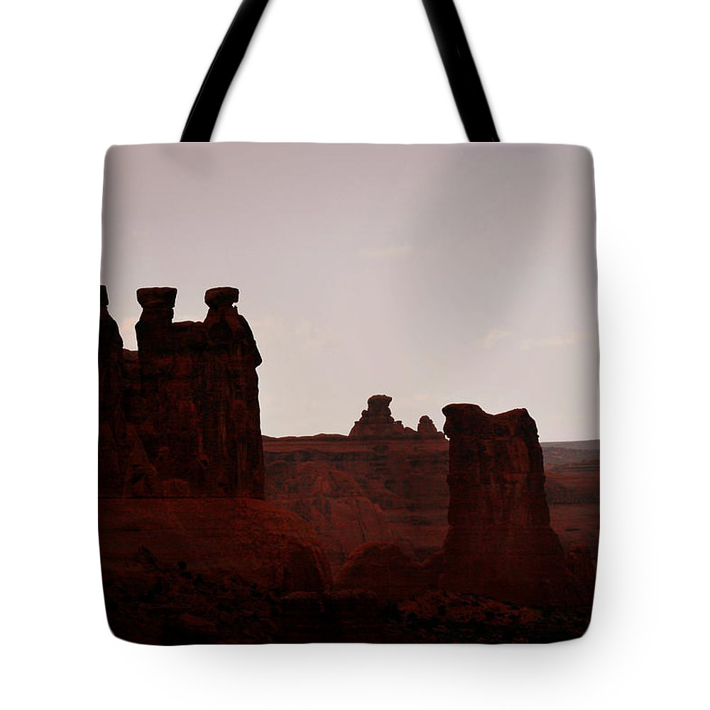 Landscape Tote Bag featuring the photograph The Three Gossips Arches National Park Utah by Christine Till