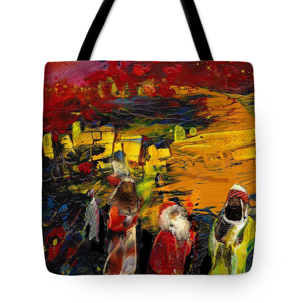 Epiphany Tote Bag featuring the painting The Three Kings by Miki De Goodaboom
