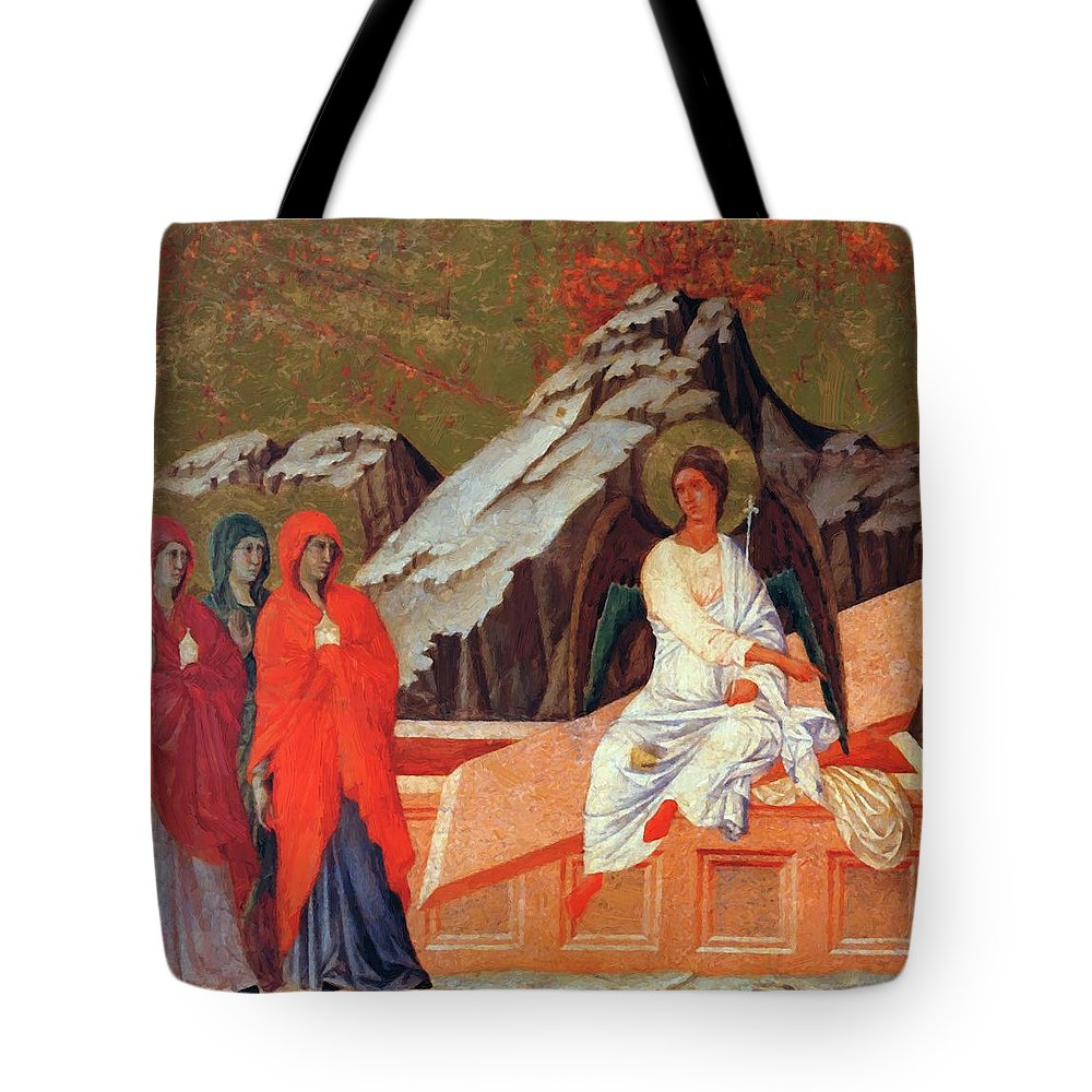 The Tote Bag featuring the painting The Three Marys At The Tomb 1311 by Duccio