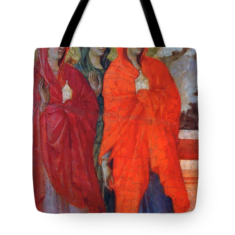 The Tote Bag featuring the painting The Three Marys At The Tomb Fragment 1311 by Duccio