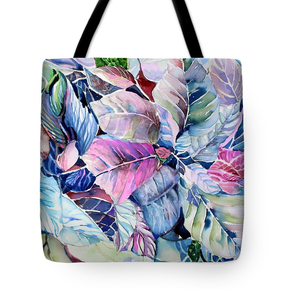 Poinsettia Tote Bag featuring the painting The Touch Of Silence by Mindy Newman