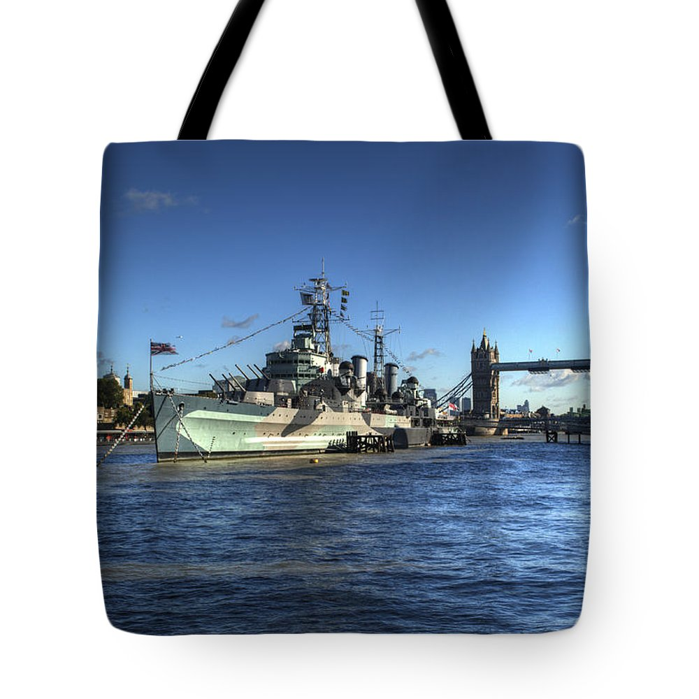Tower Of London Tote Bag featuring the photograph The Tower Hms Belfast And Tower Bridge by Chris Day