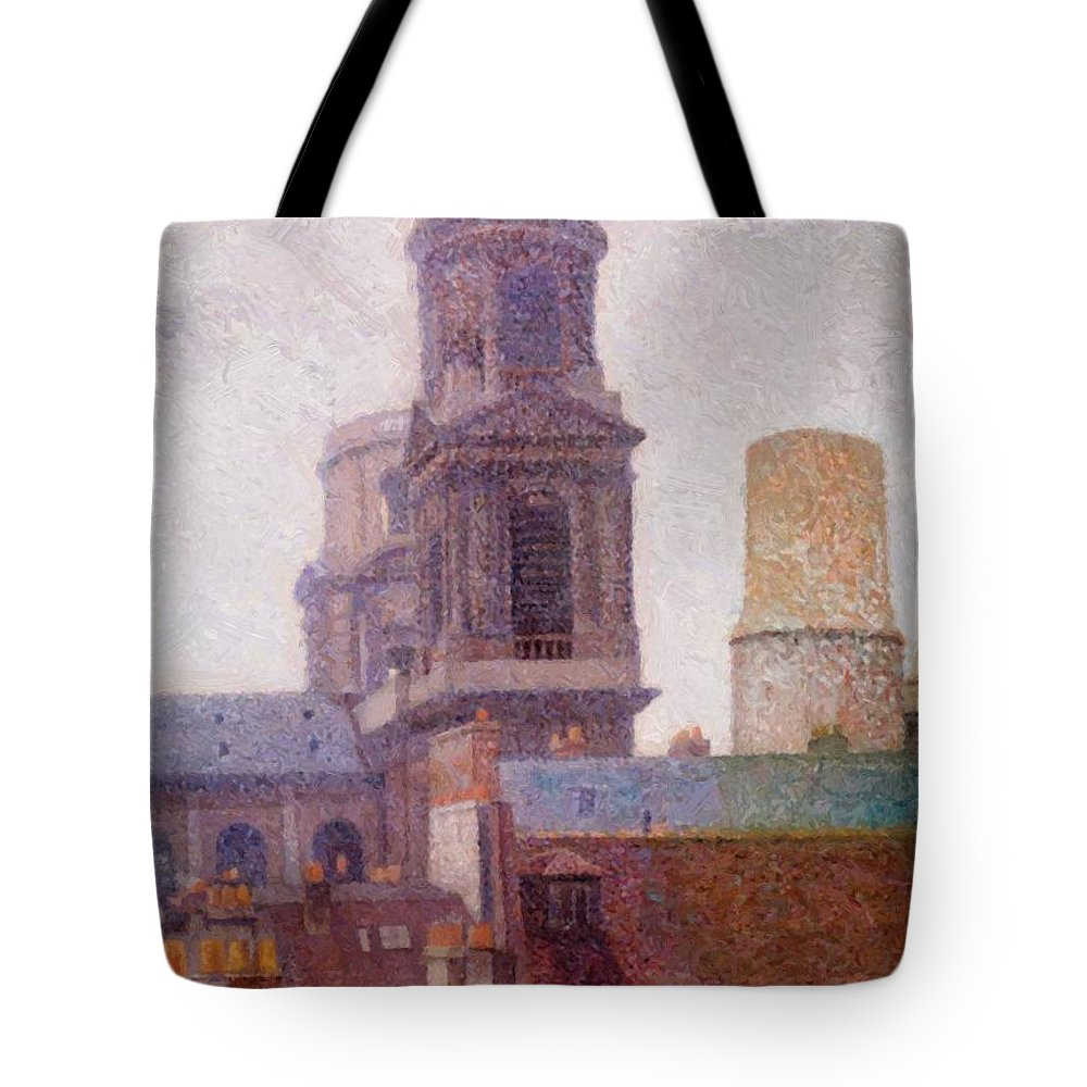 The Tote Bag featuring the painting The Towers Saint Sulpice 1887 by DuboisPillet Albert