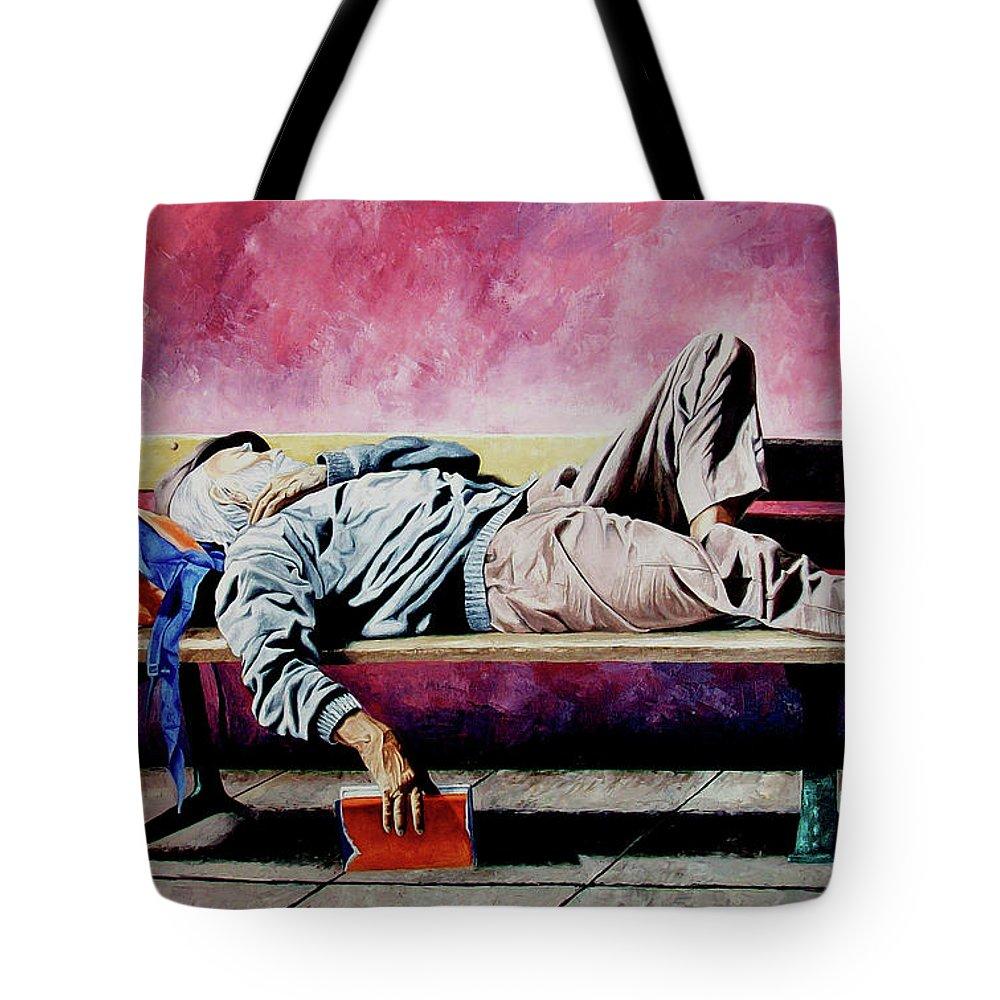 Figurative Tote Bag featuring the painting The Traveler 1 - El Viajero 1 by Rezzan Erguvan-Onal