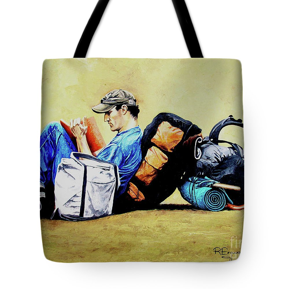 Travel Tote Bag featuring the painting The Traveler 2 - El Viajero 2 by Rezzan Erguvan-Onal