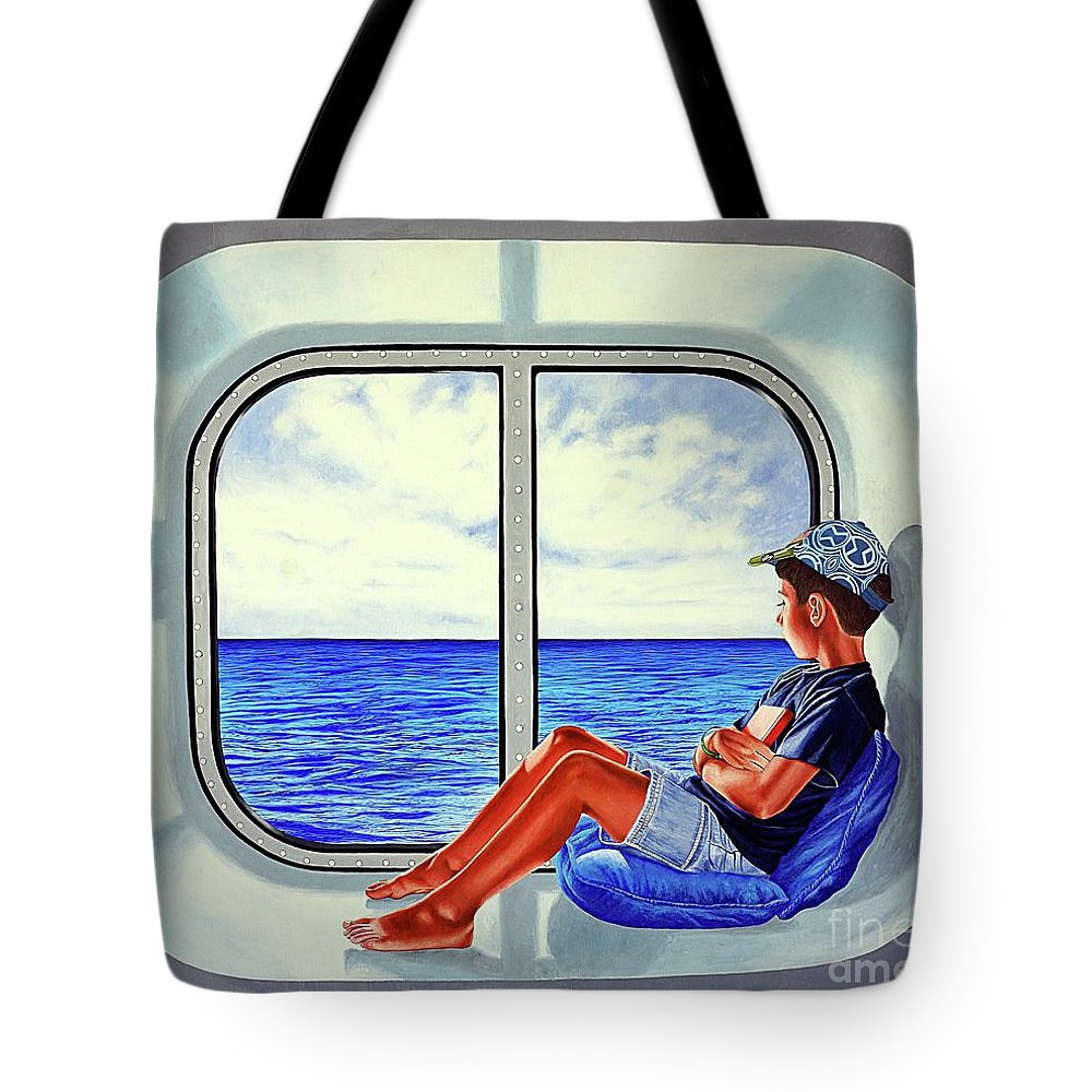 Travel Tote Bag featuring the painting The Traveler 3 - El Viajero 3 by Rezzan Erguvan-Onal