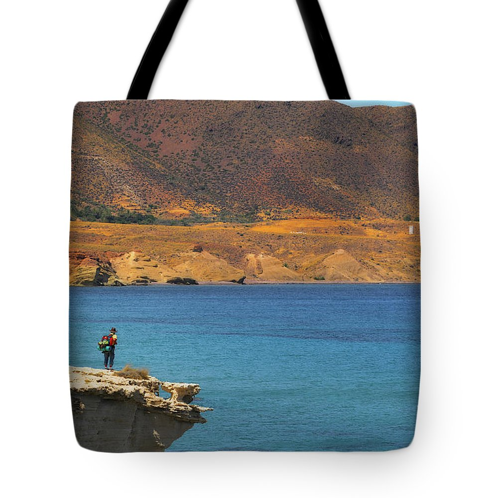 Landscape Tote Bag featuring the photograph The Traveler by Javier CERDAN