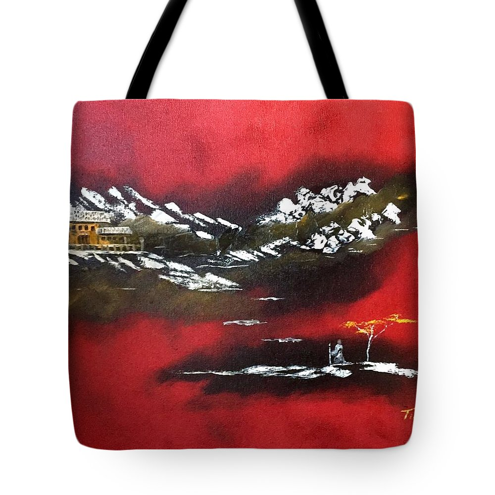 Monk Tote Bag featuring the painting The Traveler by Tim Dobert