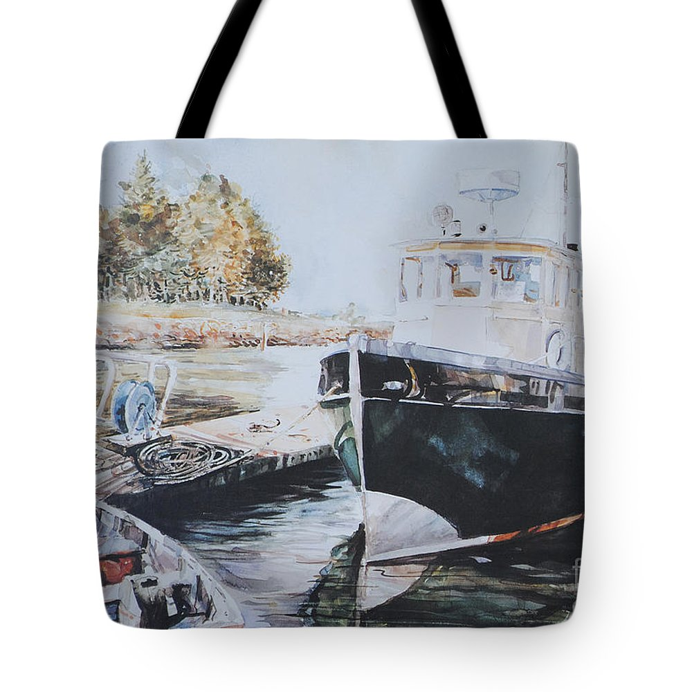 Boats Tote Bag featuring the painting The Trawler Crosby by P Anthony Visco