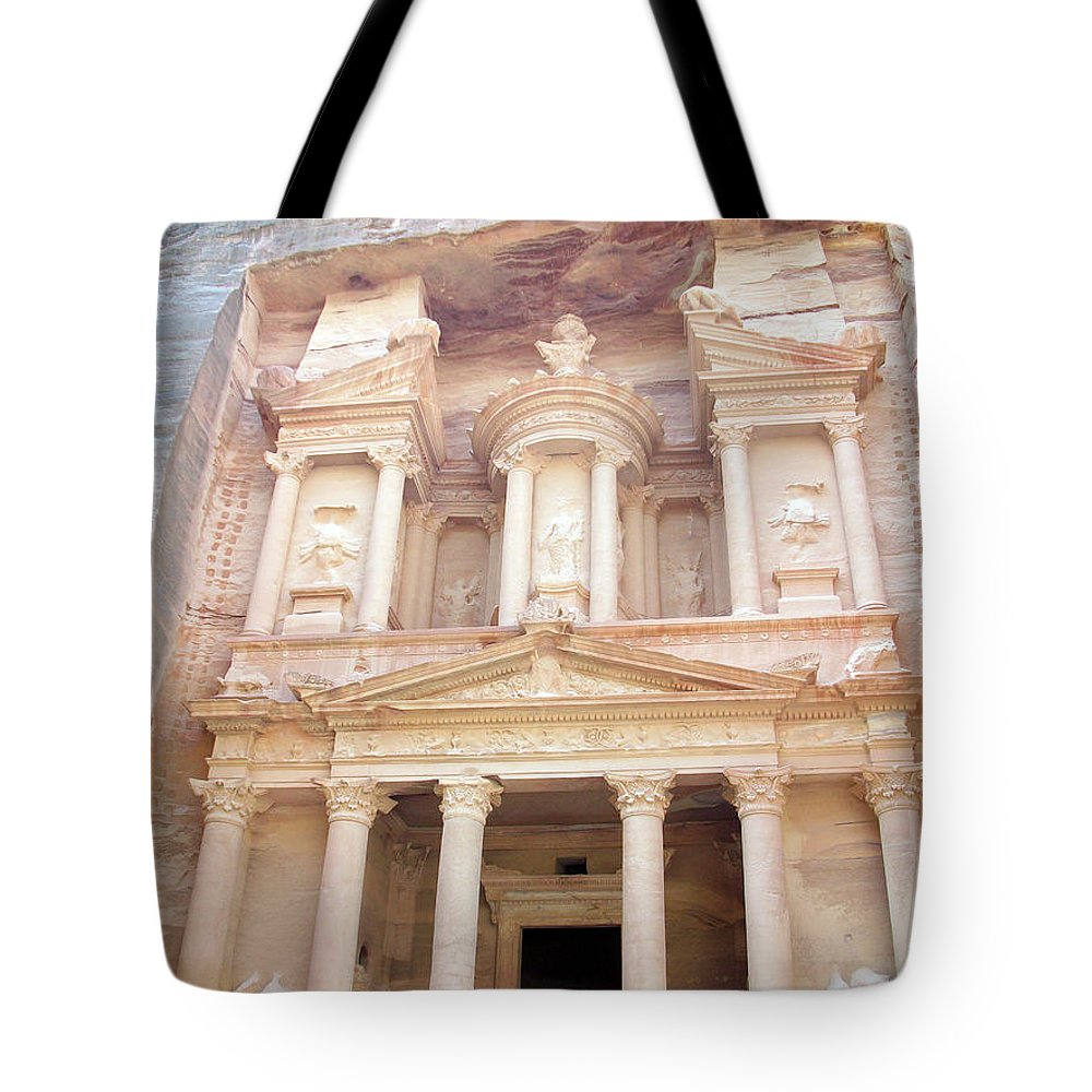 Petra Tote Bag featuring the photograph The Treasury - Jordan by Munir Alawi