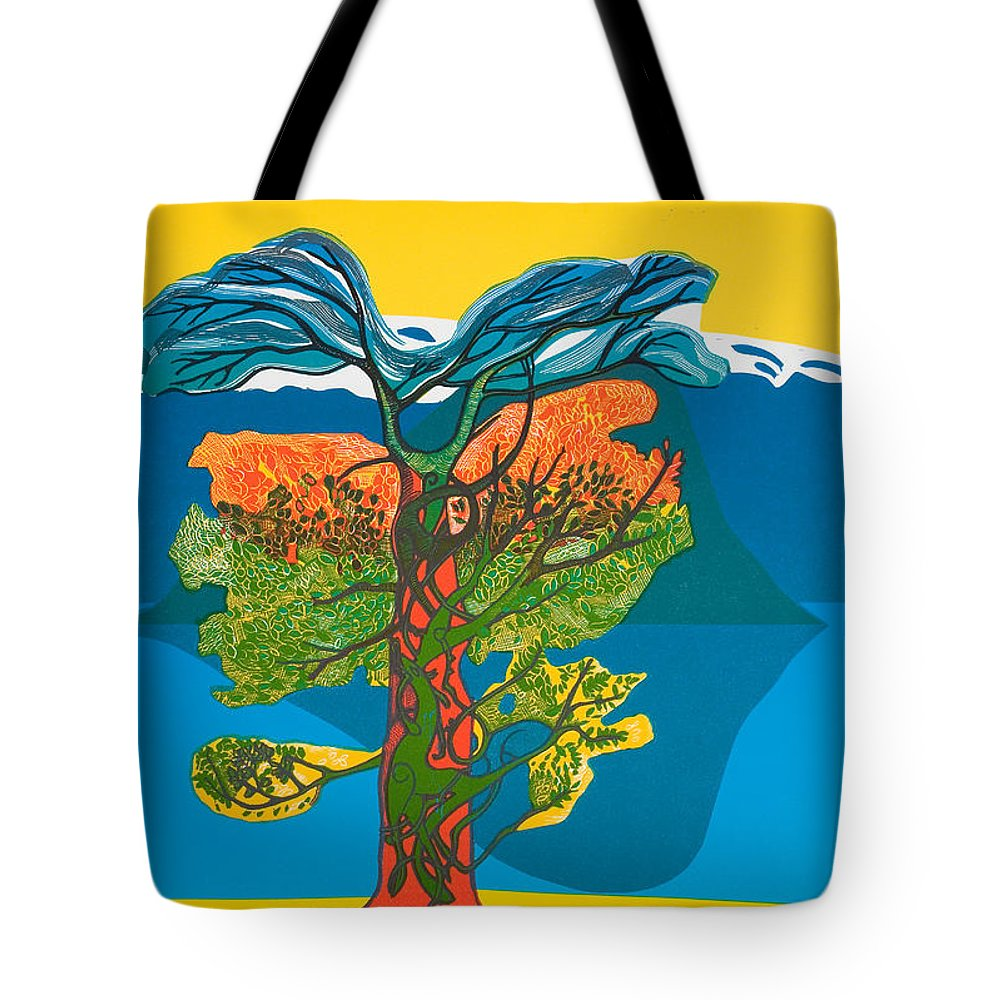 Landscape Tote Bag featuring the mixed media The Tree Of Life. From The Viking Saga. by Jarle Rosseland