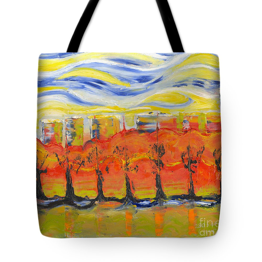 Painting Tote Bag featuring the painting The Trees In Red. Day_march, 28 2015, Nizhny Novgorod, Russia by Tatiana Chernyavskaya