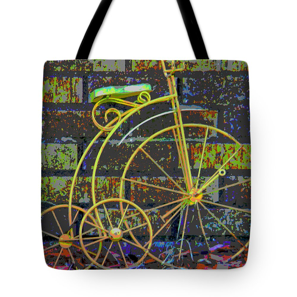 Abstract Tote Bag featuring the photograph The Tricycle by Lenore Senior