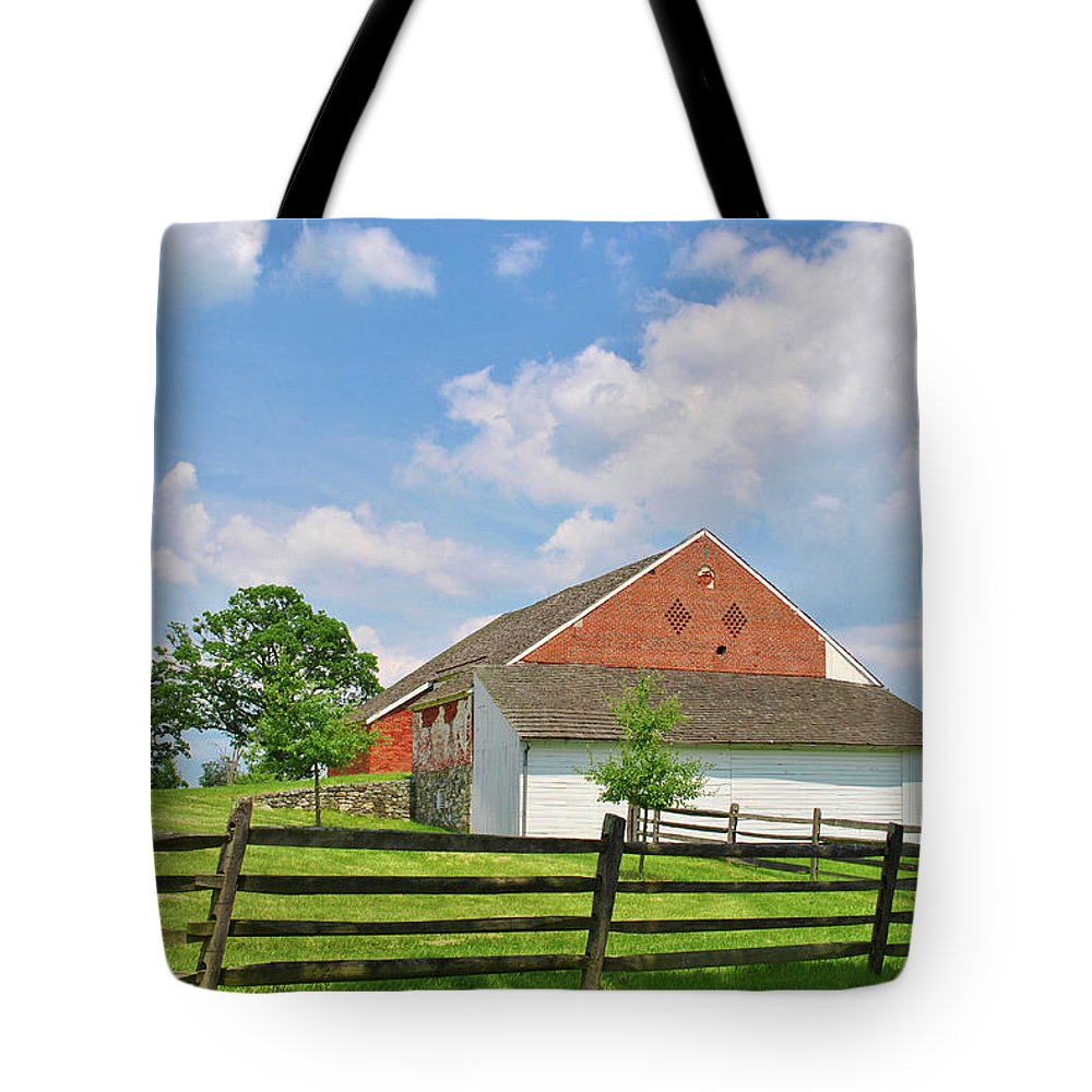 Civil War Tote Bag featuring the photograph The Trostle Barn by Jen Goellnitz