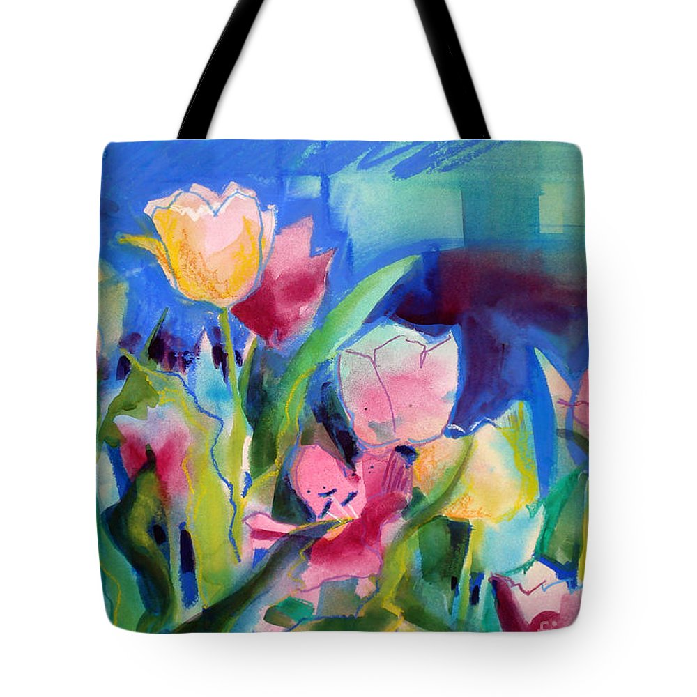 Paintings Tote Bag featuring the painting The Tulips Bed Rock by Kathy Braud