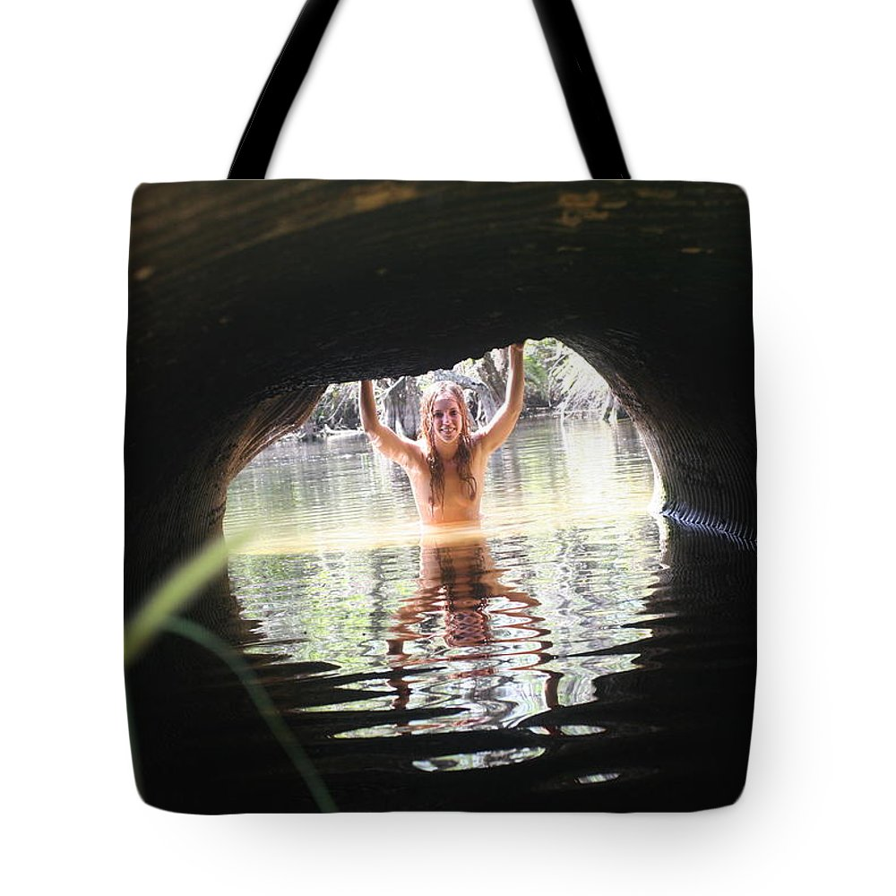 Lucky Cole Everglades Photographer Female Nude Everglades Tote Bag featuring the photograph The Tunnel 7 by Lucky Cole