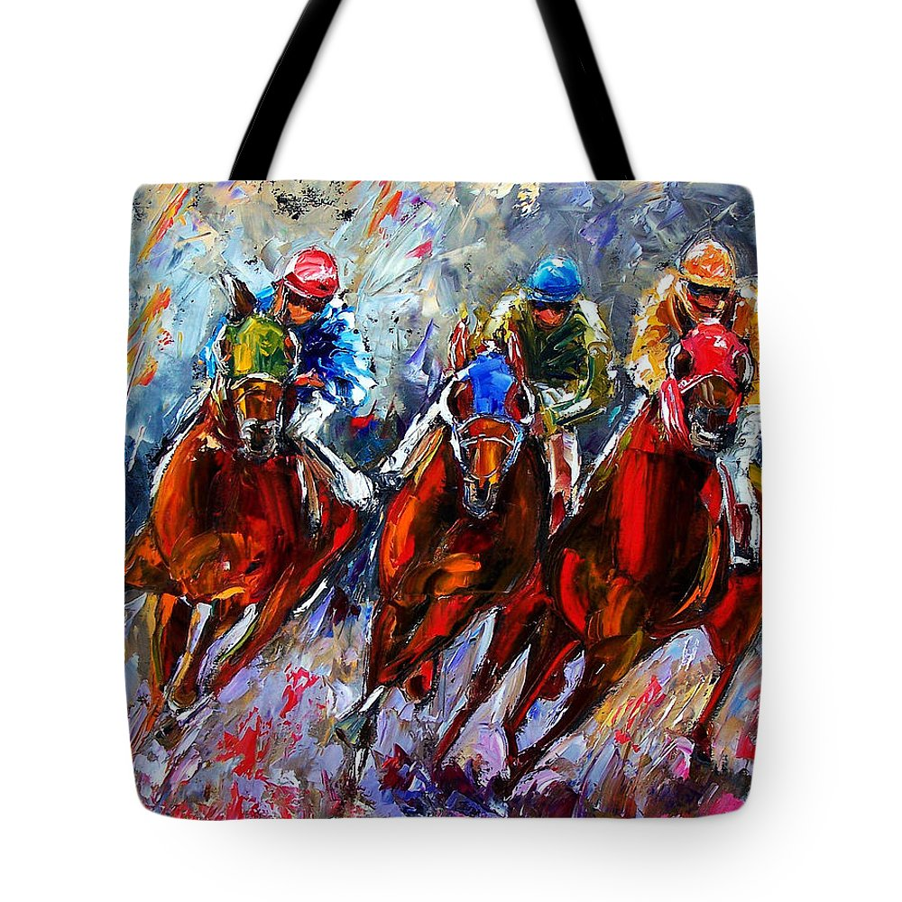 Horses Tote Bag featuring the painting The Turn 2 by Debra Hurd