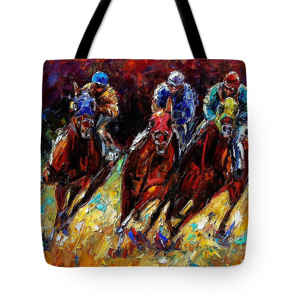 Horses Paintings Tote Bag featuring the painting The Turn by Debra Hurd
