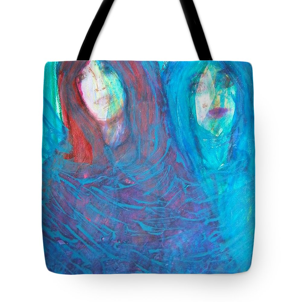 Abstract Tote Bag featuring the painting The Twins by Judith Redman