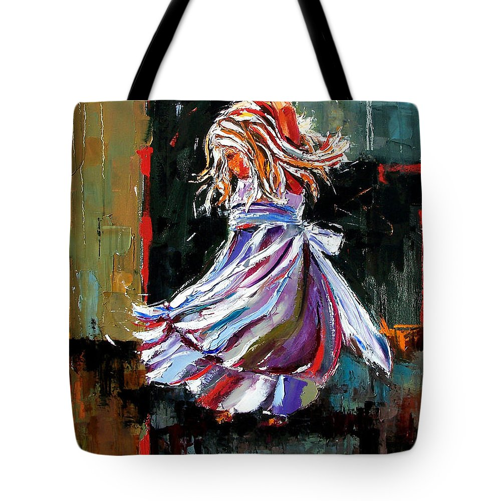 Girl Tote Bag featuring the painting The Twirl by Debra Hurd