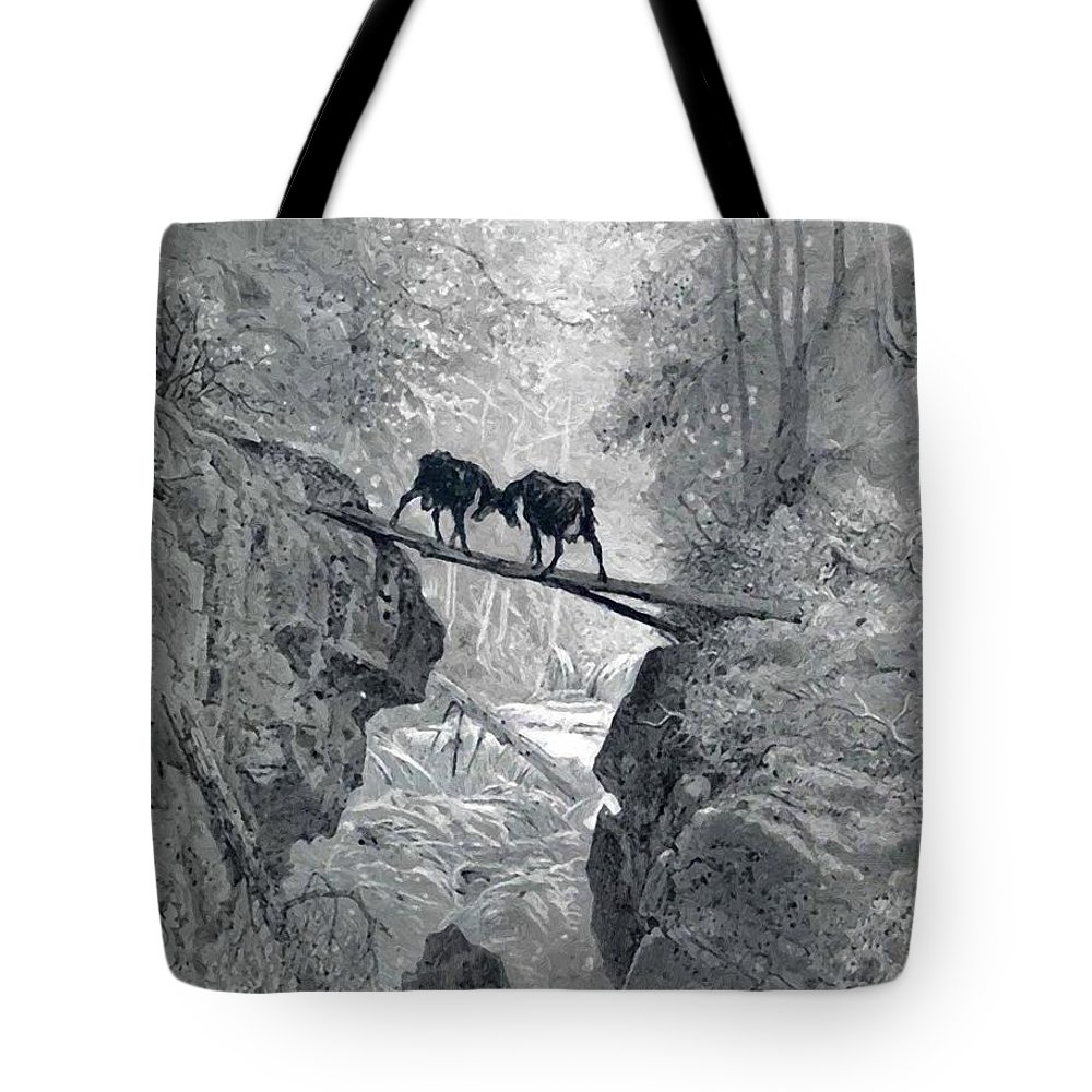 The Tote Bag featuring the painting The Two Goats by Dore Gustave