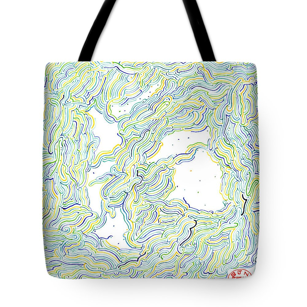 Mazes Tote Bag featuring the drawing The Two Of Us by Steven Natanson
