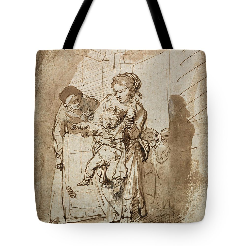 Rembrandt Tote Bag featuring the drawing The Unruly Child by Rembrandt