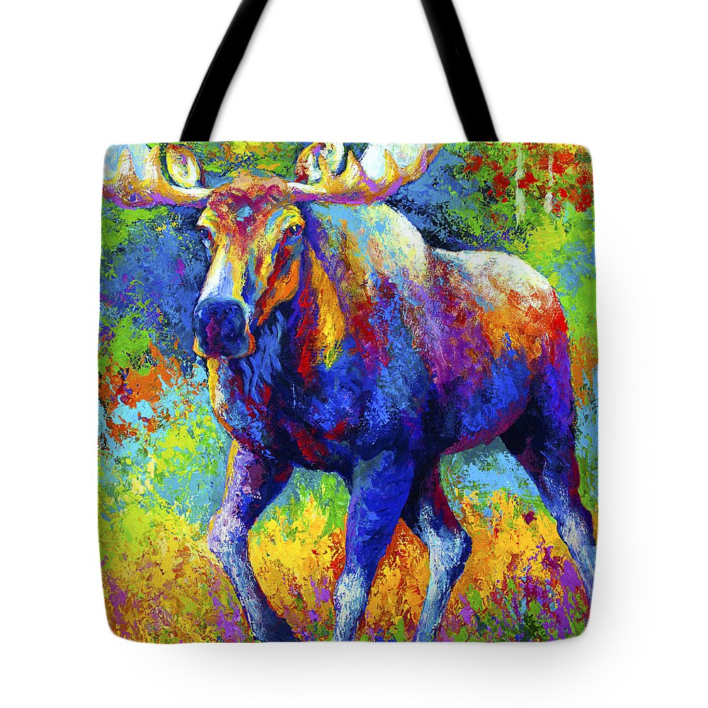 Moose Tote Bag featuring the painting The Urge To Merge - Bull Moose by Marion Rose