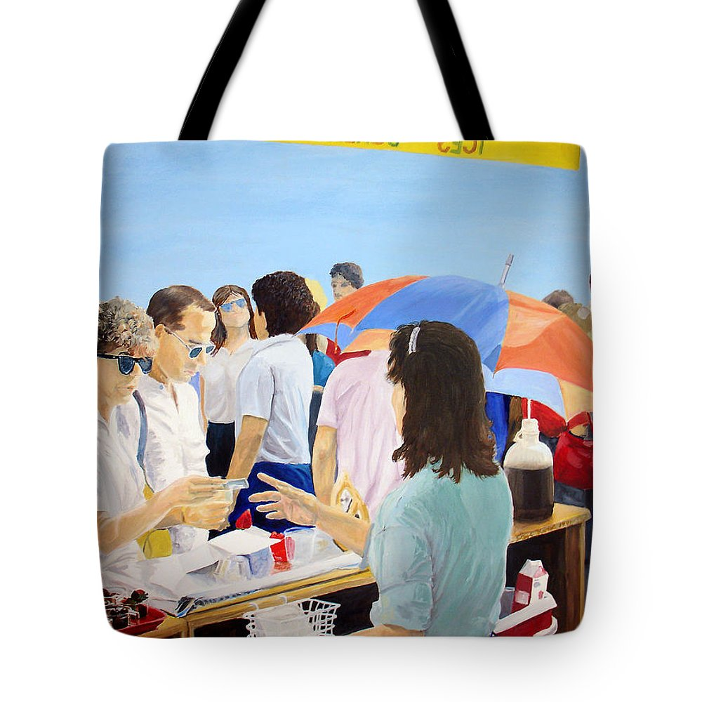 People Tote Bag featuring the painting The Vendor by Steve Karol
