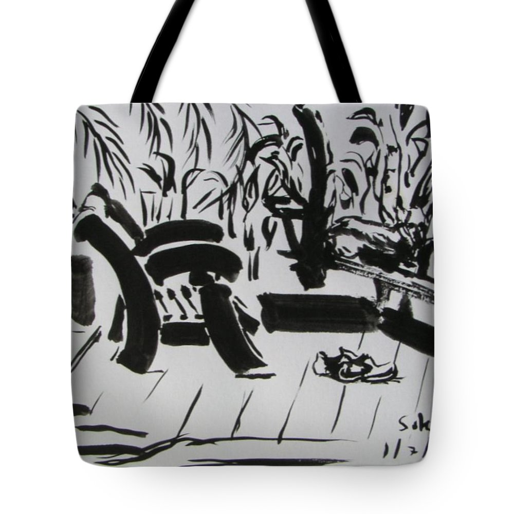 Chinese Tote Bag featuring the drawing The Veranda by Sukalya Chearanantana