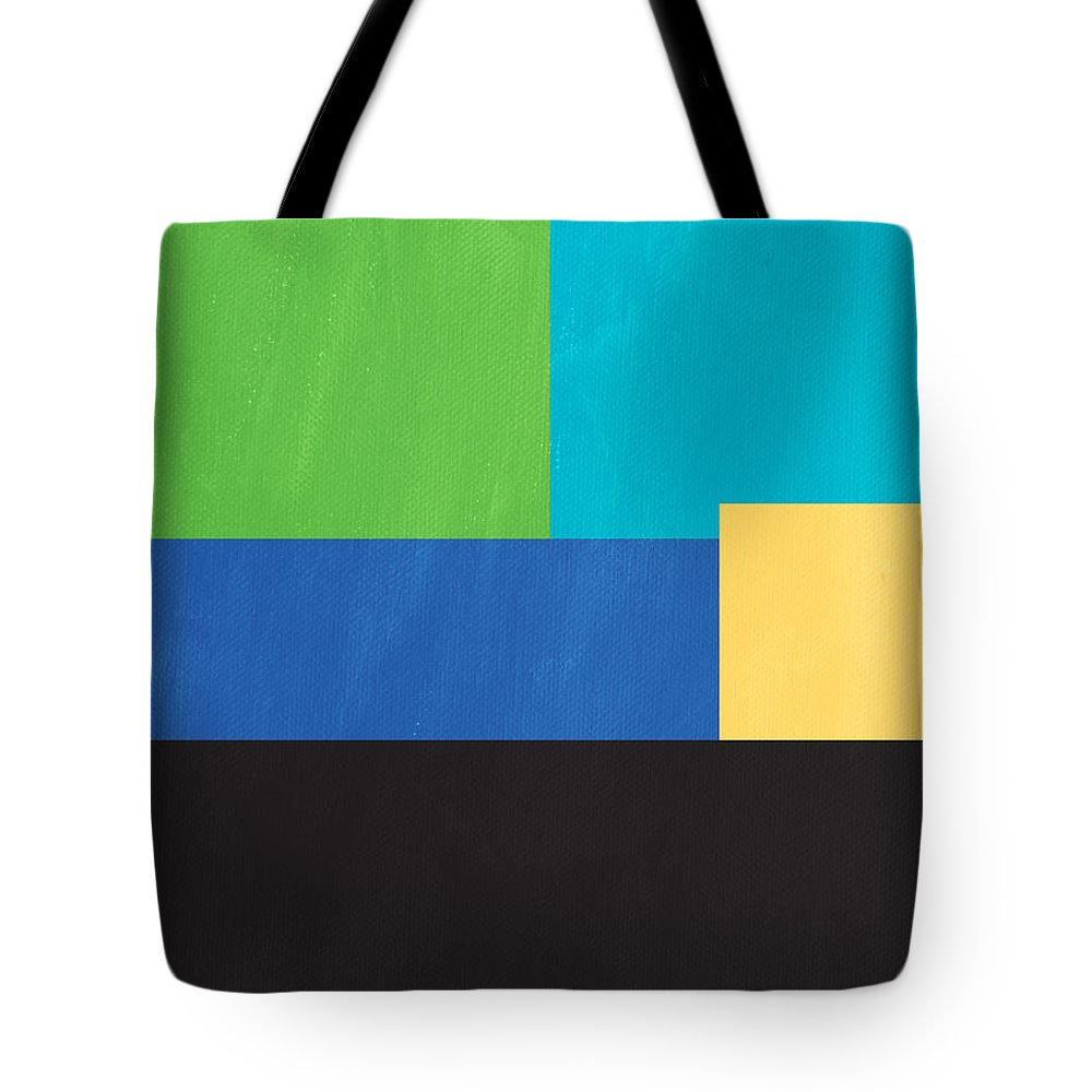 Modern Tote Bag featuring the mixed media The View From Here- Modern Abstract by Linda Woods