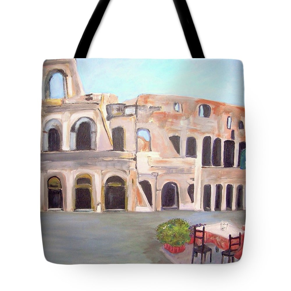 Cityscape Tote Bag featuring the painting The View Of The Coliseum In Rome by Teresa Dominici