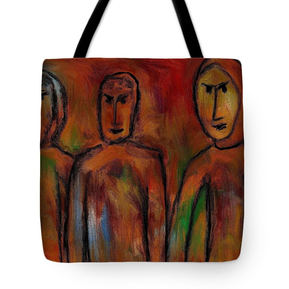 People Tote Bag featuring the painting The Village People by Rafi Talby