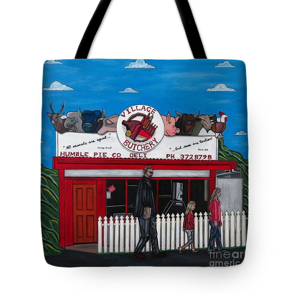 Buildings Tote Bag featuring the painting The Village by Sandra Marie Adams