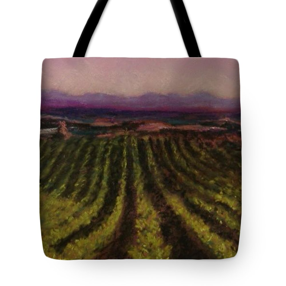 Landscape Tote Bag featuring the pastel The Vineyard by Pat Snook