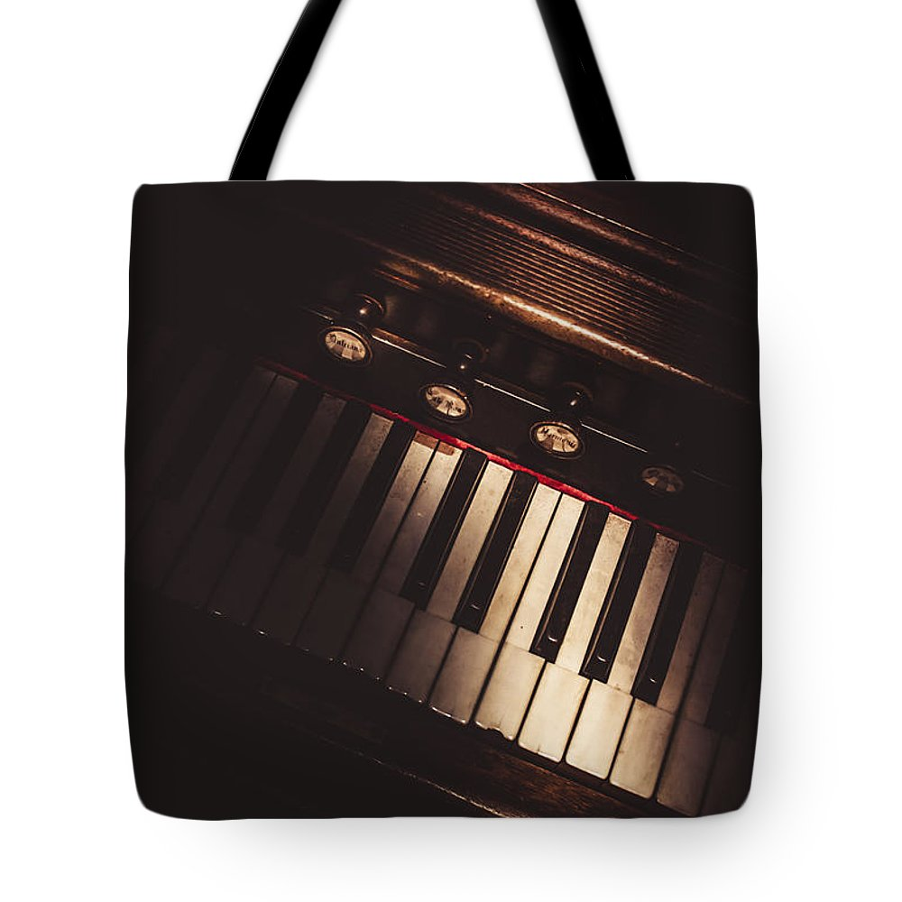 Piano Tote Bag featuring the photograph The Vintage Music Hall by Jorgo Photography - Wall Art Gallery