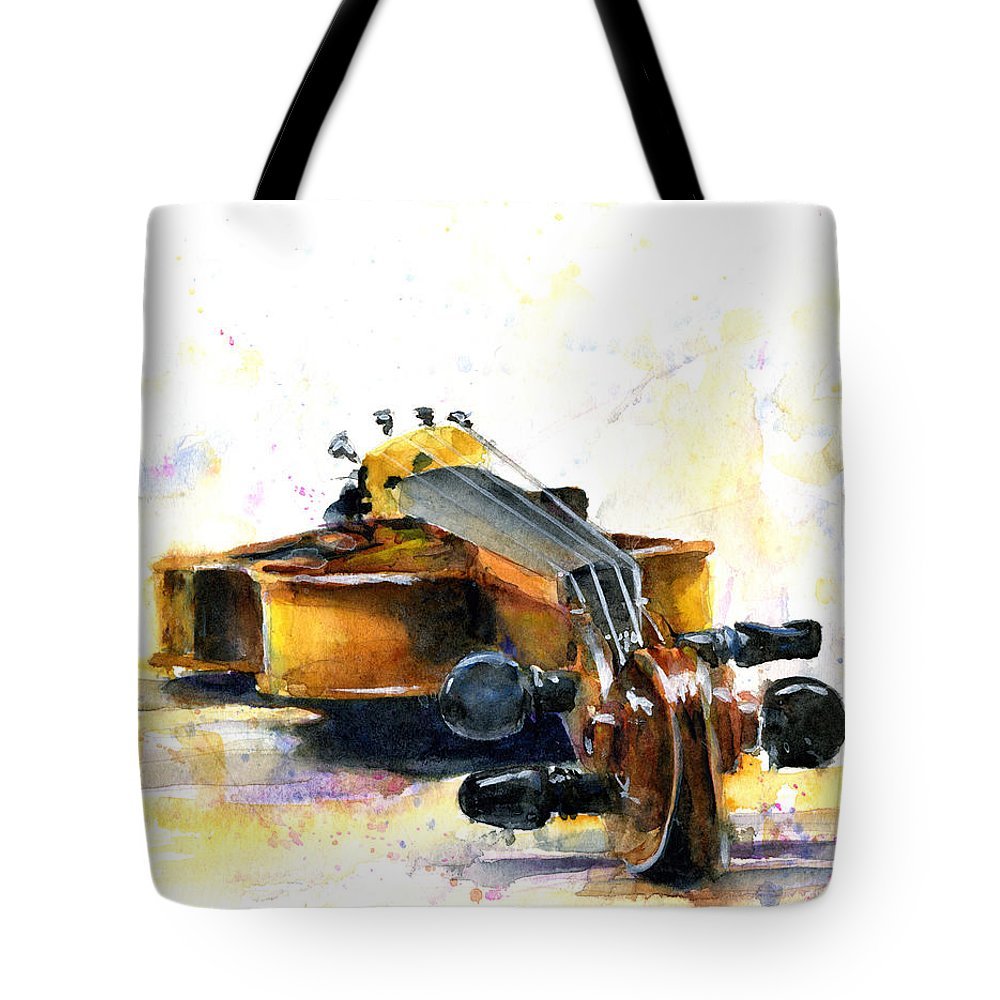 Violin. Watercolor Tote Bag featuring the painting The Violin by John D Benson