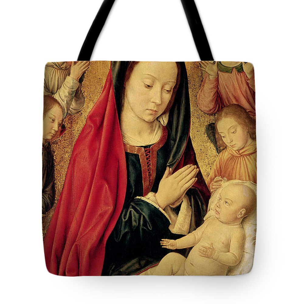The Tote Bag featuring the painting The Virgin And Child Adored By Angels by Jean Hey