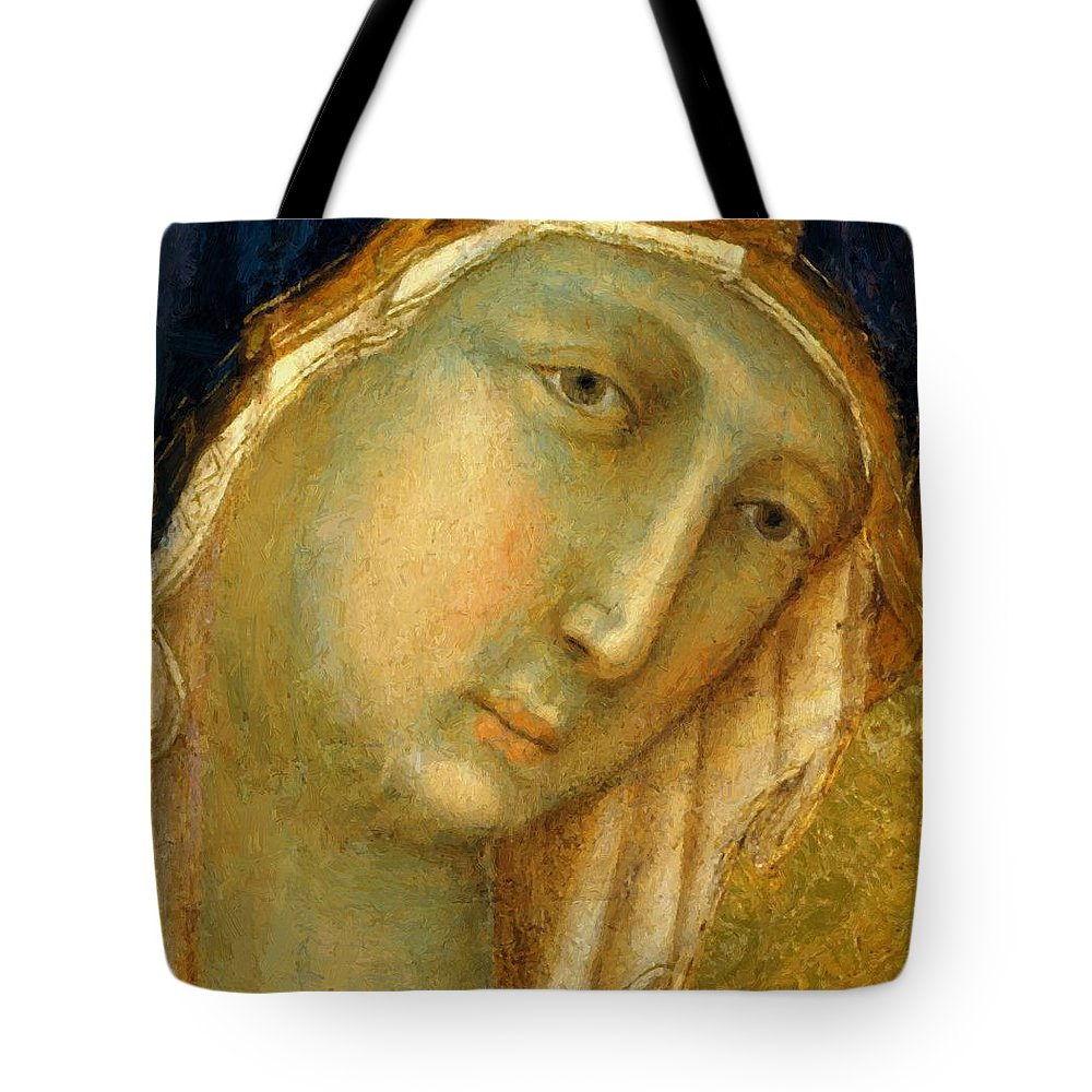 The Tote Bag featuring the painting The Virgin And Child On A Throne Fragment 1311 by Duccio
