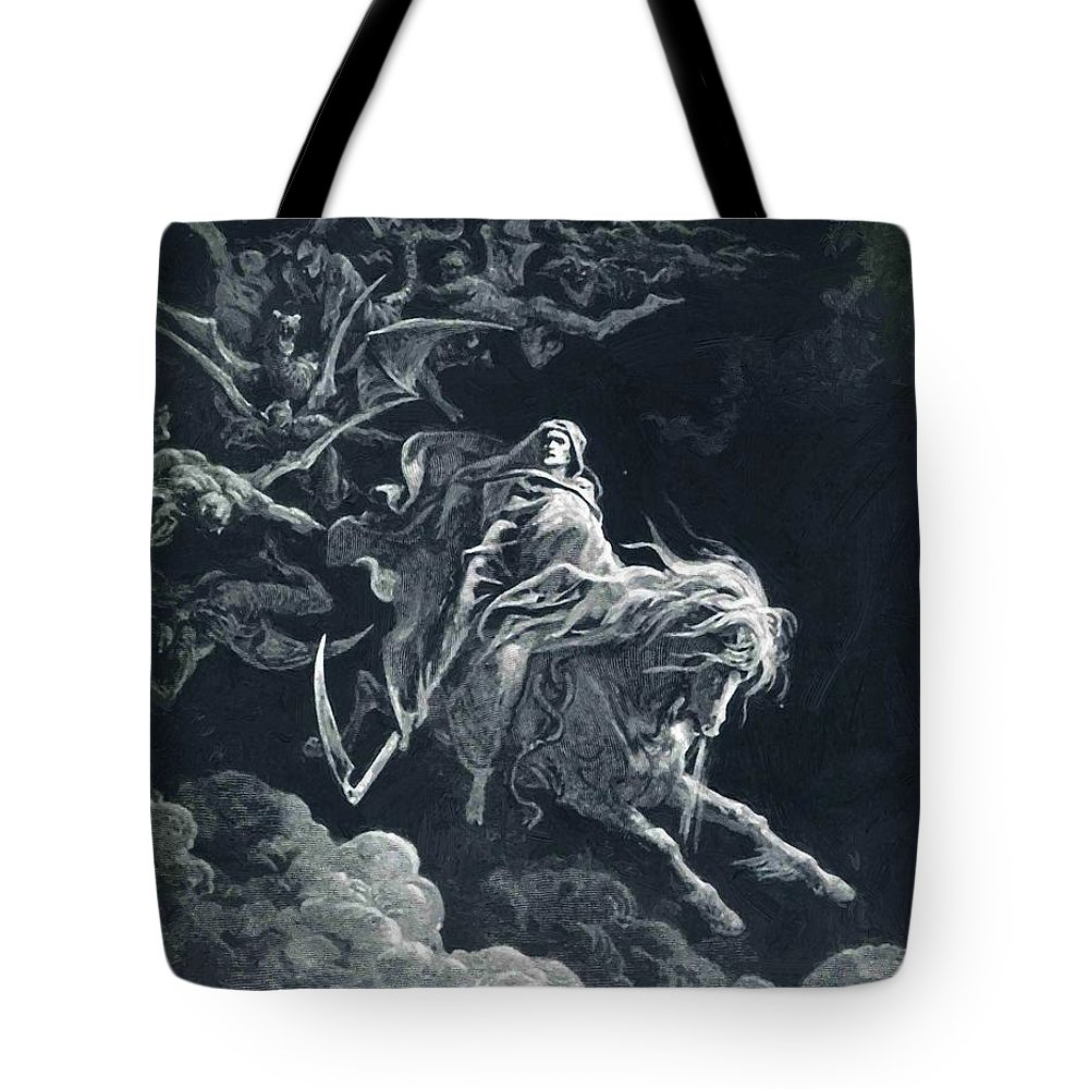 The Tote Bag featuring the painting The Vision Of Death by Dore Gustave