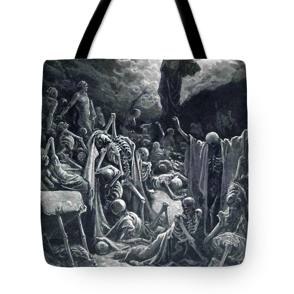 The Tote Bag featuring the painting The Vision Of The Valley Of Dry Bones 1866 by Dore Gustave