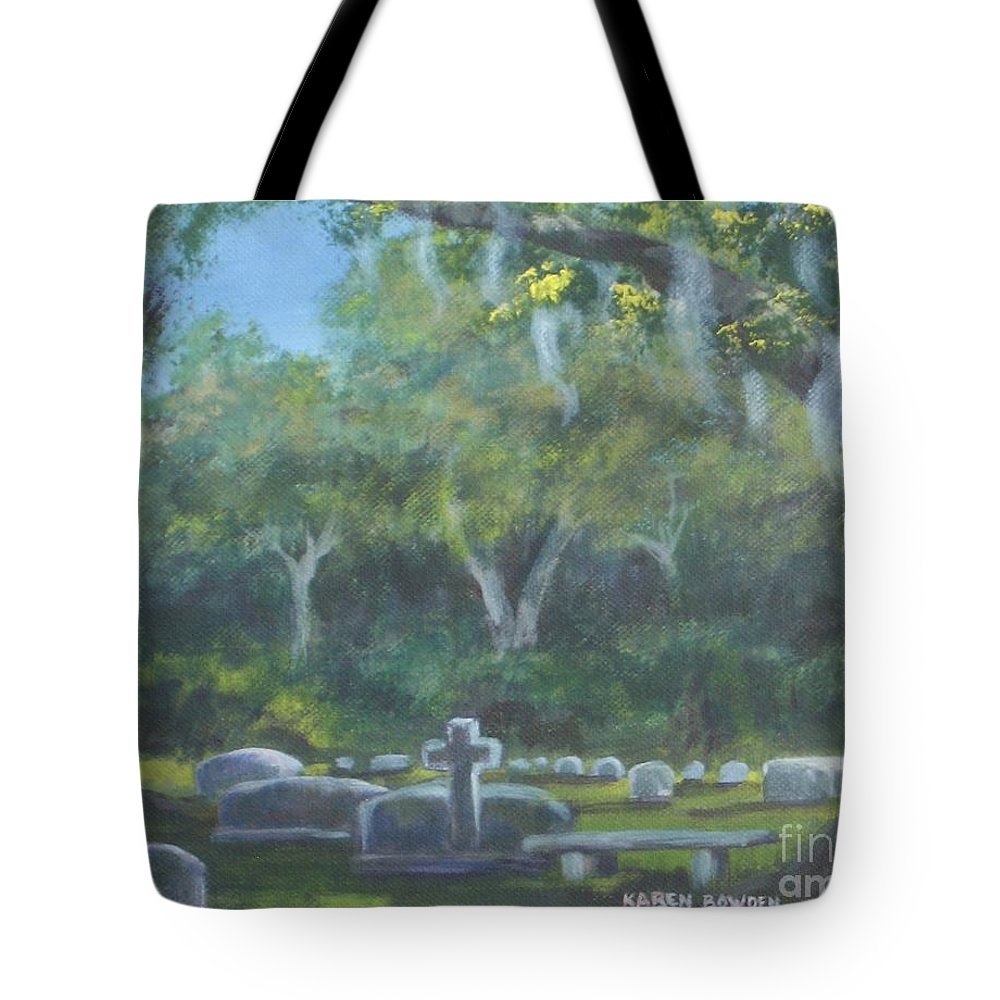 Landscape Cemetary Ghost Tree Florida Orlando Greenwood Tote Bag featuring the painting The Visitor 75usd by Karen Bowden