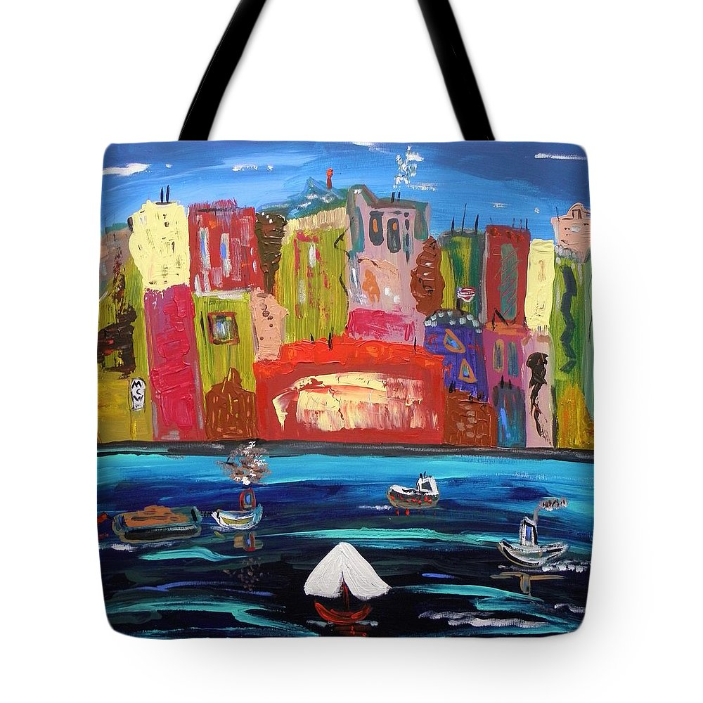 Urban Tote Bag featuring the painting The Vista Of The City by Mary Carol Williams