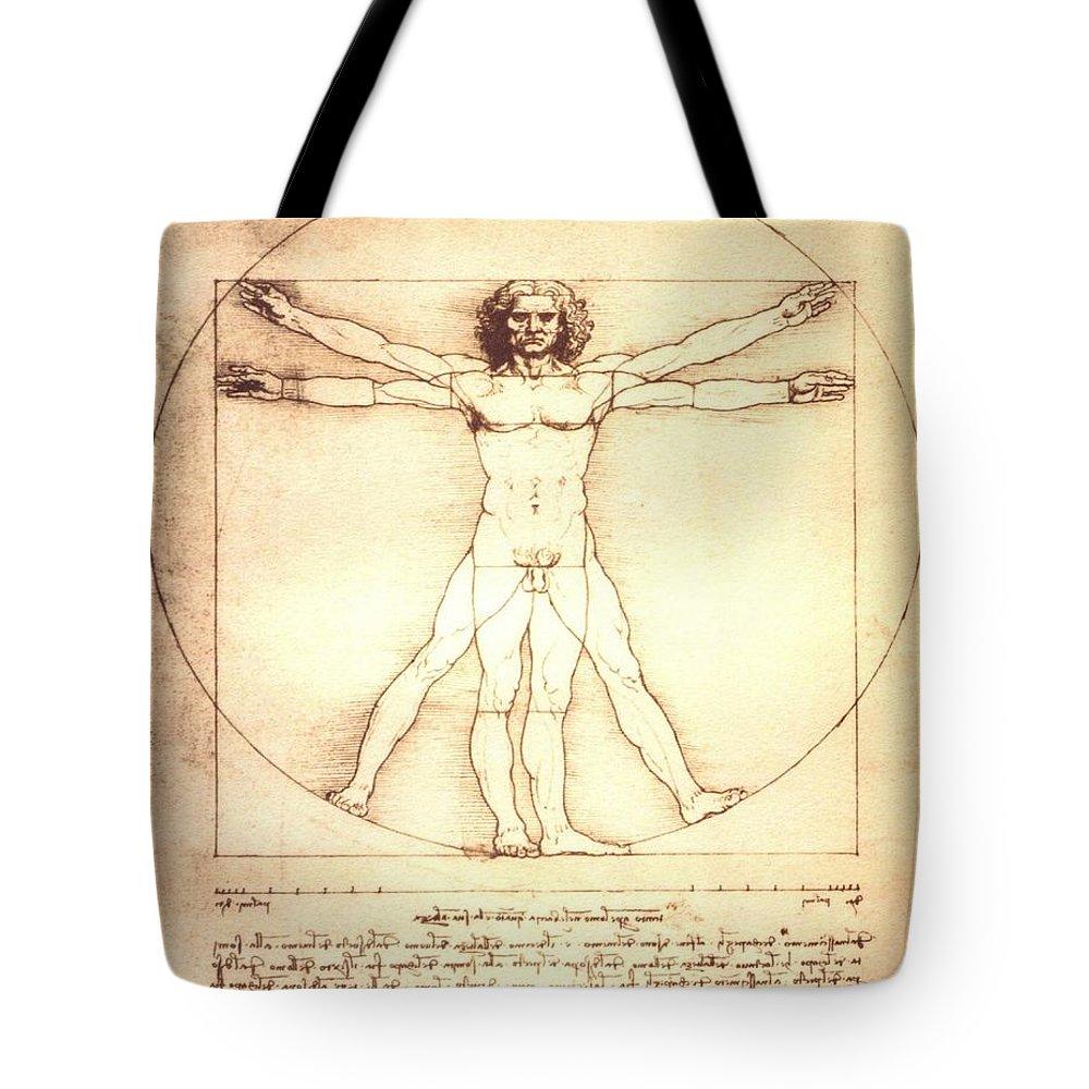 The Vitruvian Man By Leonardo Da Vinci Tote Bag for Sale by Leonardo ...