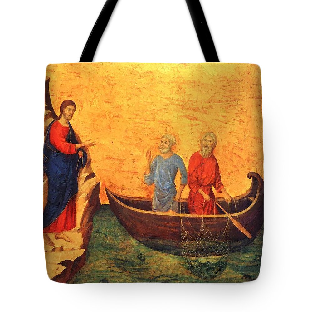 The Tote Bag featuring the painting The Vocation Of The Apostle Peter Fragment 1311 by Duccio