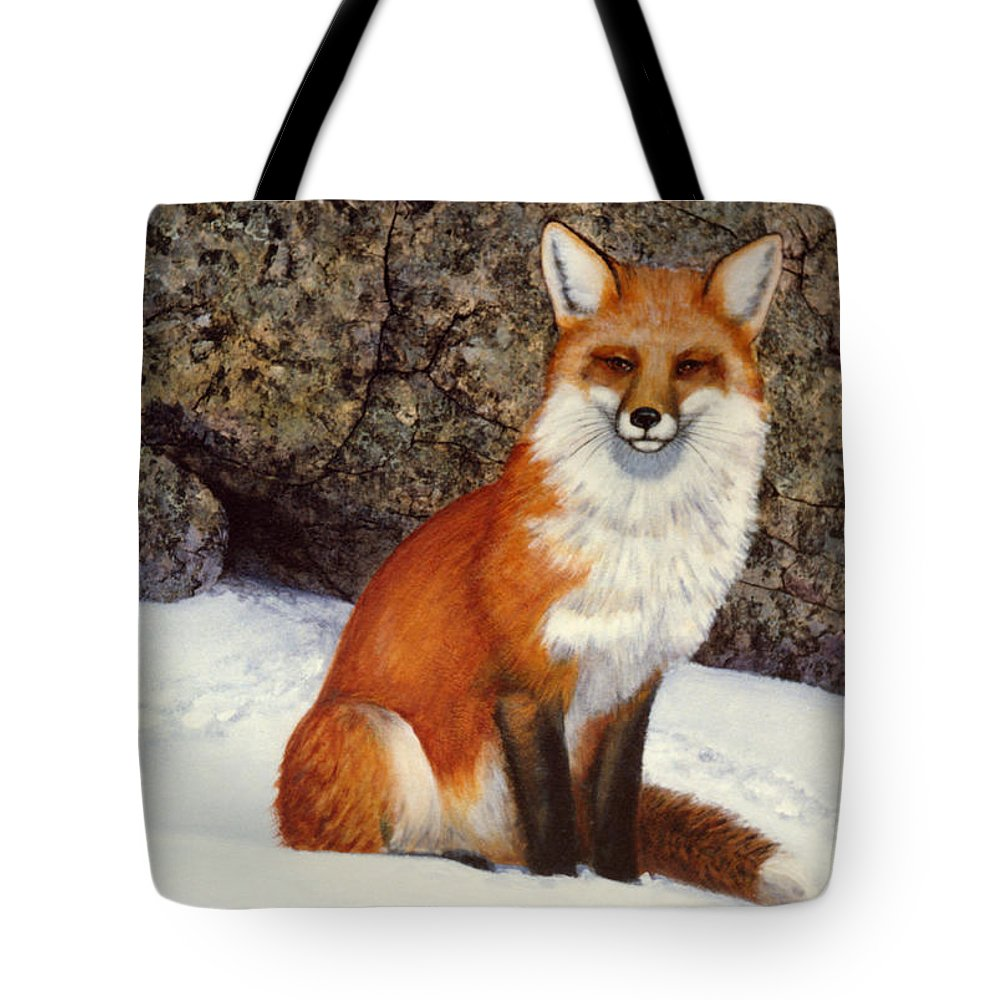 Wildlife Tote Bag featuring the painting The Wait Red Fox by Frank Wilson